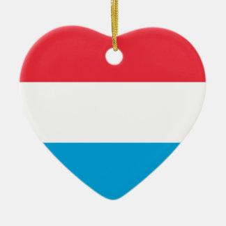 Prydnad för Luxembourg flaggahjärta Hjärtformad Julgransprydnad I Keramik