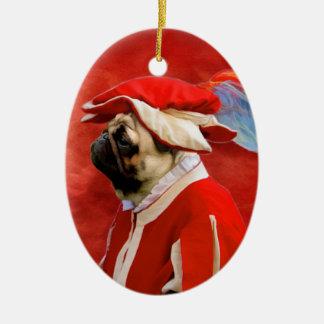 Prydnad för mopsinbördeskrigsoldat ovalformad julgransprydnad i keramik
