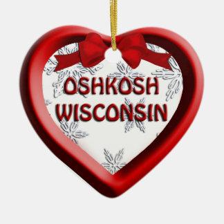 Prydnad för Oshkosh Wisconsin hjärtajul Julgransprydnad Keramik