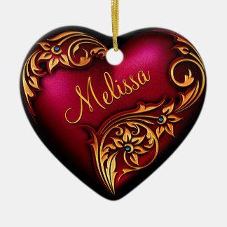 Prydnad för personlig för guld för hjärtarulla röd hjärtformad julgransprydnad i keramik
