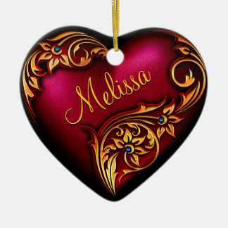 Prydnad för personlig för guld för hjärtarulla röd julgransprydnad keramik