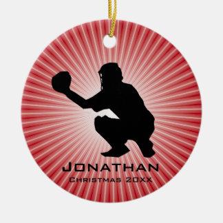 Prydnad för personligbaseball (stoppare) julgransprydnad keramik