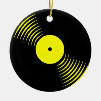 Prydnad för rekord för vinyl för Corey tiger80-tal Rund Julgransprydnad I Keramik