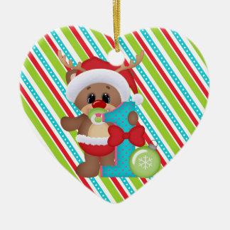 Prydnad för ren Babys för första jul gullig Hjärtformad Julgransprydnad I Keramik