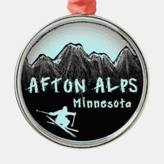 Prydnad för runda för Afton alpernaMinnesota skier Julgransprydnad Metall