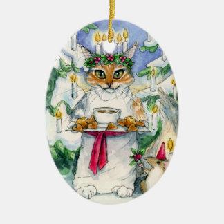 Prydnad för Santa Lucia julkatt Ovalformad Julgransprydnad I Keramik