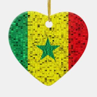 Prydnad för Senegal flaggaglitter Julgransprydnad Keramik
