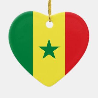 Prydnad för Senegal flaggahjärta Julgransprydnad Keramik