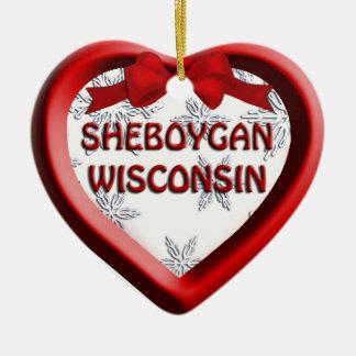 Prydnad för Sheboygan Wisconsin hjärtajul Julgransprydnad Keramik