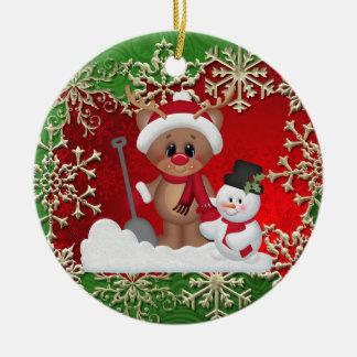 Prydnad för tecknad för julhelgdagren rund julgransprydnad i keramik