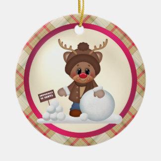 Prydnad för tecknad för julrenhelgdag rund julgransprydnad i keramik