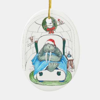 Prydnad för träd för nyckfullt juldjurliv oval julgransprydnad keramik
