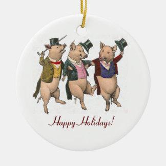 Prydnad för tre dansa grisjul julgransprydnad keramik