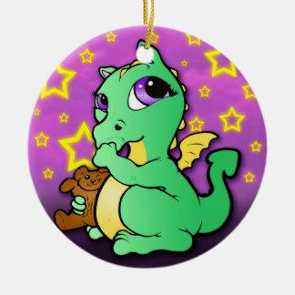 Prydnad för tum för babydrake sugande - grönt julgransprydnad keramik