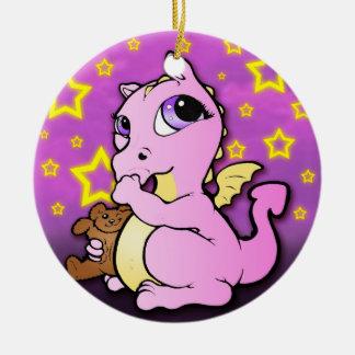 Prydnad för tum för babydrake sugande - rosa julgransprydnad keramik