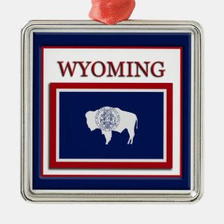 Prydnad för Wyoming statlig flaggajul Julgransprydnad Metall