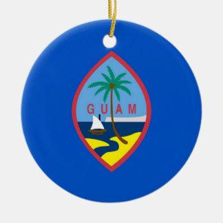 Prydnad med flagga av Guam Rund Julgransprydnad I Keramik