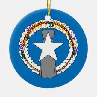 Prydnad med flagga av Northern Mariana Islands Rund Julgransprydnad I Keramik