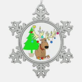 Prydnad/ren för julPeweter Snowflake Julgransdekorationer