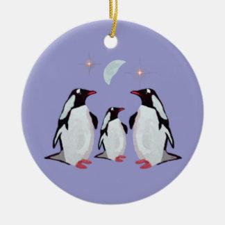 Prydnadar för pingvinjulfamilj julgransprydnad keramik