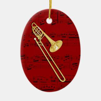 Prydnaden - Trombone (bas) - välj din färg Ovalformad Julgransprydnad I Keramik