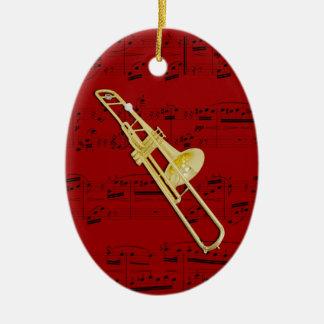 Prydnaden - Trombone (ventil) - välj din färg Ovalformad Julgransprydnad I Keramik