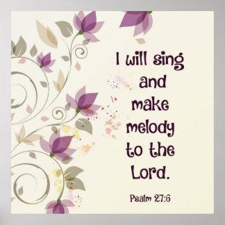 Psalm27:6 ska gör jag sjunga och melodi till poster