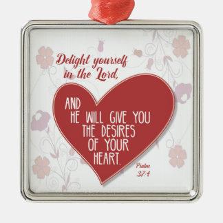 Psalm37:4fröjd dig i lorden. julgransprydnad metall