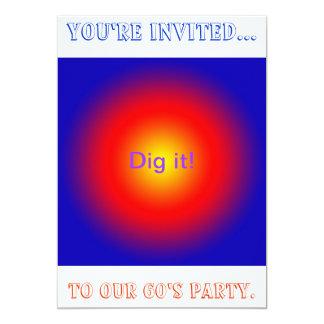 Psychedelic 60-talpartyinbjudan 12,7 x 17,8 cm inbjudningskort