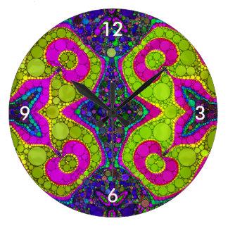 Psychedelic abstrakt Twirls Stor Klocka