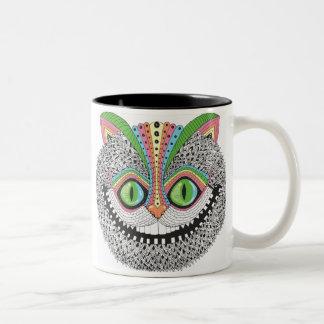 Psychedelic Cheshire katt Två-Tonad Mugg