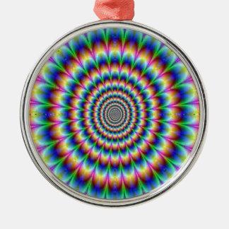 Psychedelic cirkla röra blända för illusion julgransprydnad metall