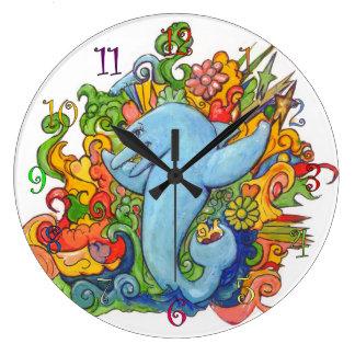 Psychedelic delfin stor klocka