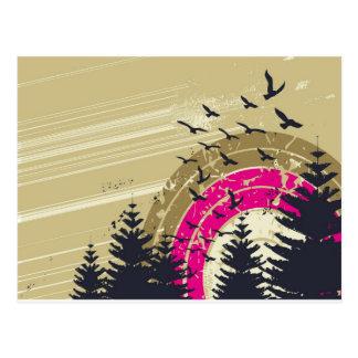 psychedelic fågelsöderabstrakt vykort