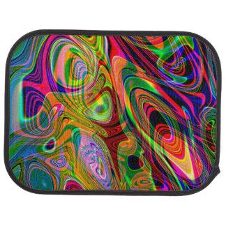 Psychedelic fluorescerande abstrakt Twirls Bilmatta