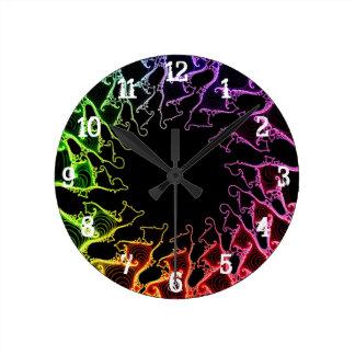 Psychedelic Fractalspiraler: Väggen tar tid på Rund Klocka