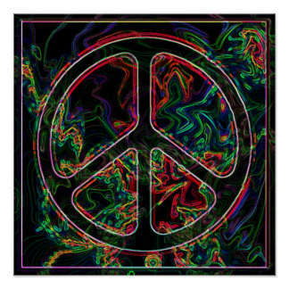 psychedelic fredsteckenaffisch poster