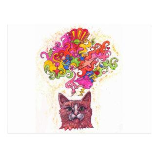 Psychedelic katt vykort