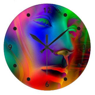 Psychedelic kvinnaansikte stor klocka
