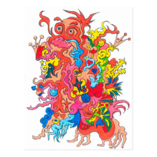 Psychedelic monster vykort