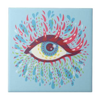 Psychedelic öga för abstrakt kusliga blått liten kakelplatta