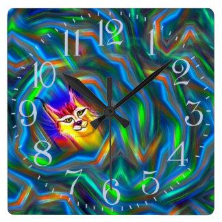 Psychedelic porträtt för färgflödeslodjur fyrkantig klocka
