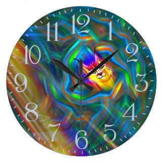 Psychedelic porträtt för färgflödeslodjur stor klocka