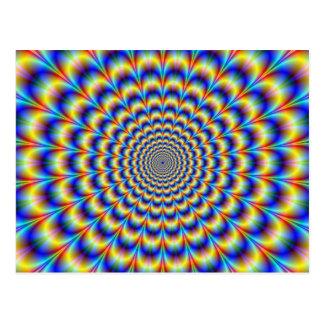 Psychedelic pulsera i blått- och gultvykort vykort