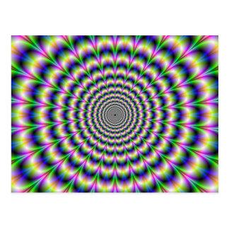 Psychedelic pulsera i lila- och gröntvykort vykort