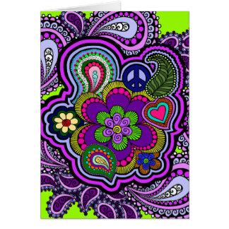 Psychedelic purpurfärgat Paisley hälsningkort Hälsningskort