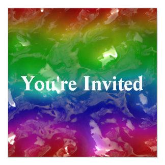 Psychedelic regnbåge göra gelé av gyttja fyrkantigt 13,3 cm inbjudningskort