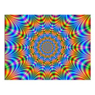 Psychedelic ringvykort för orange och för blått vykort
