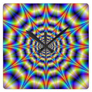 Psychedelic rulla väggen tar tid på fyrkantig klocka