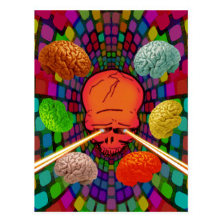 Psychedelic skalle vykort